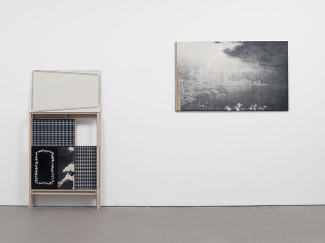 R. H. Quaytman. Iamb: Chapter 12, Excerpts and Exceptions, with Painting Rack. 2001–09. Silkscreen ink, oil paint, and gesso on wood, and wood rack, dimensions and installation variable. The Museum of Modern Art