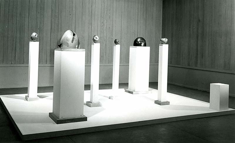 Installation view of Ken Price's sculptures in the exhibition New American Sculpture at the Pasadena Art Museum, 1964